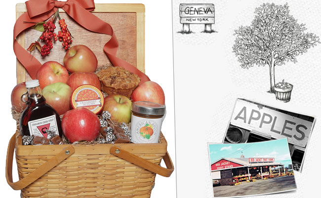 Fall Harvest Basket featuring New York State Red Jacket Apples