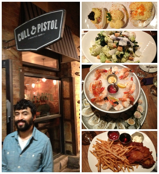 Cull and Pistol in Pictures, clockwise from top: Deviled Eggs, Grilled Kale Salad, Raw Bar, Fish and Chips, Marlon (CMB IT guru!) and Cull and Pistol signage.