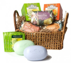 basket with Castelbell Soap and Ahmad Tea